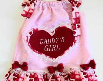 Custom Boutique  Daddys Little Girl Valentine Pillowcase Dress