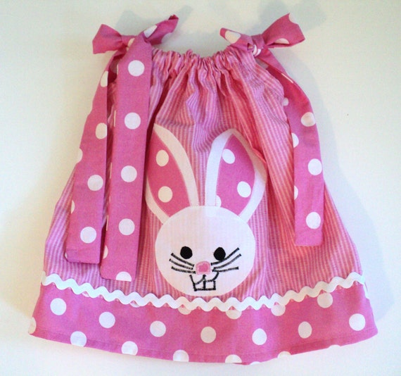 Baby Girl Easter - Pink Polka Dot Bunny Pillowcase Dress - Newborn Infant toddler 0-6mo, 6-12mo, 12-18mo, 18-24mo, 2t, 3t, 4t, 5/6, 7/8