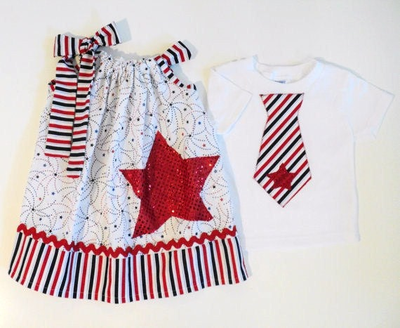 4th of July Brother/ Sister Americana Stars & Stripes set Sizes 0-6 mo, 6-12mo, 12-18mo, 18-24mo, 2t, 3t, 4t, 5/6, 7/8