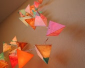 Pyramid Lantern Garland - THE FLAMINGO - handmade fairy lights in neon pink and orange, metallic copper, and aqua stripes