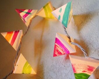 Rainbow Neon Garland - Paper Pyramid Lanterns