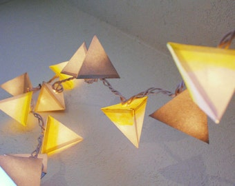 Pyramid Paper Lanterns - THE WHITE DWARF - handmade geometric light garland with yellow ombre, metallic silver, and white
