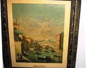 Vintage Italian Print Framed Old World Style