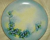Vintage Porcelain Plate Limoges France, blue with yellow decorative plate, home decor, housewares