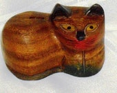 Vintage Cat Handpainted Wood
