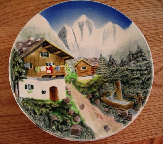 RESERVED for J. Vintage German Hand Painted Plate, Folk Art, 1940s, ready to hang