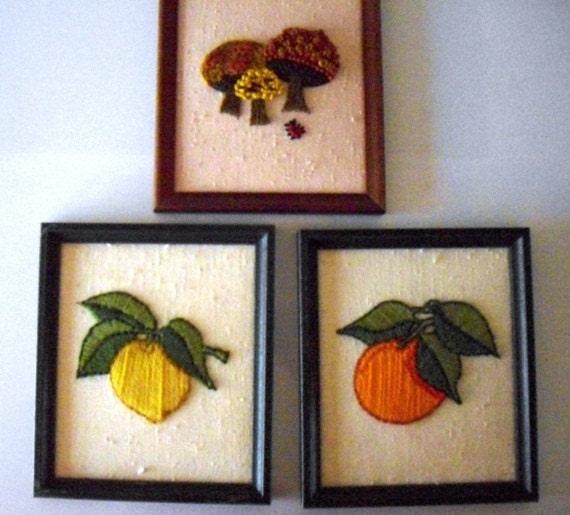 Retro Garden Needlepoint Pictures, Wood Framed, set of 3