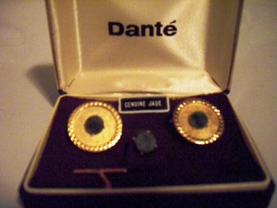 RESERVED Vintage Jade Cufflinks and Tie Tack