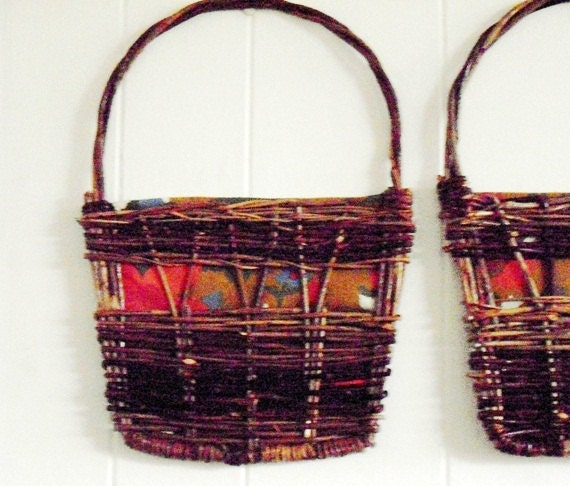 Vintage wall baskets set rustic decor by designfrills on etsy - Decorative basket wall art ...