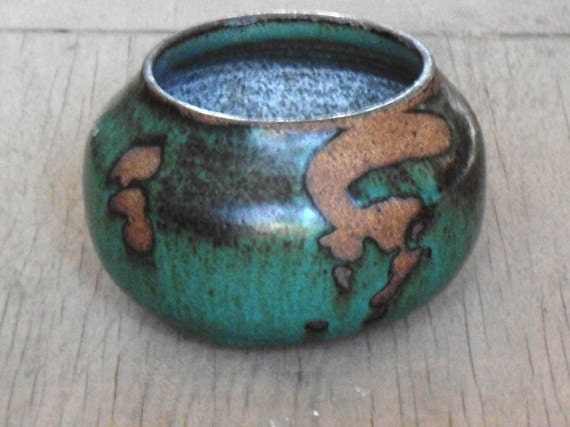 Stoneware Art Pottery Bowl, rustic hand thrown pottery,  Vintage Accent Decor, teal tones
