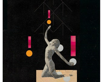 the admirable exercise - art print- mixed media digital collage