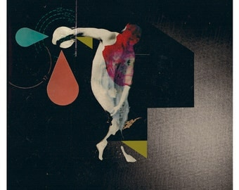 the discobolus - art print- mixed media digital collage