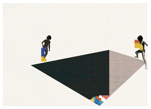 dropping colors into a deep pool - art print- digital illustration
