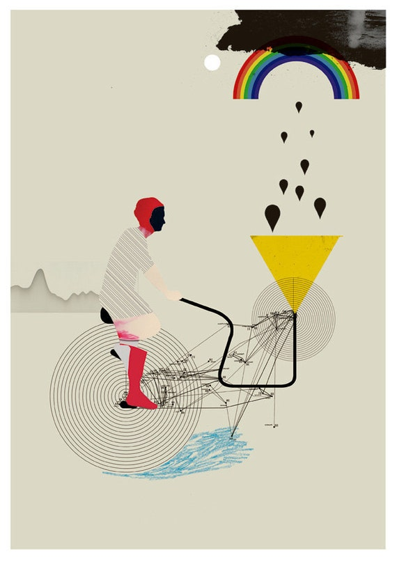 bicycle -machine that makes storms - art print- mixed media digital collage
