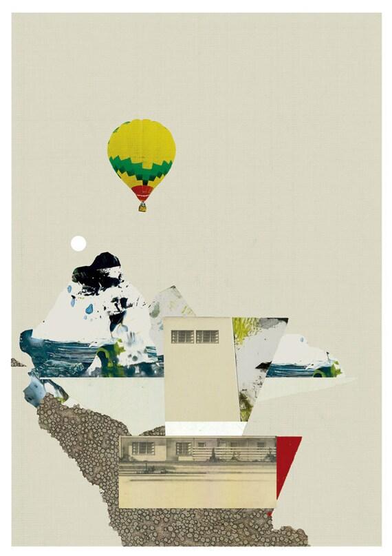 Arriving home - art print - mixed media digital collage