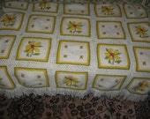 Vintage Hand crochet  or knitted Afghan  Very Pretty and Different