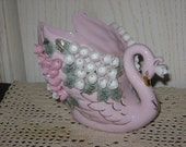 Really Pretty Pink Water Lillies Swan Planter