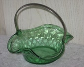 Pretty Green Candy Bowl with Pewter Handle
