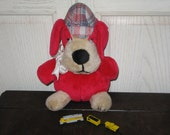 Vintage Stuffed Dog Sherlock Homes Looking Guy Sweet / CLEARING OUT Marked Item to clear out
