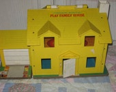 1970S Hard to Find Fisher Price Little People Yellow Tudor house