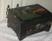 Japanese Black and Gold Jewelry Music Box from 60 -70s  Black Lacquer