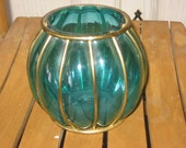 Reserved Pretty Candle Bowl with Metal Gold Cage around bowl Part Retro Looking