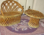 Barbie Doll Vintage Table and Couch Set Wicker or Rattan  / SALE 20 % Off Coupon Code SPRINGSALE /