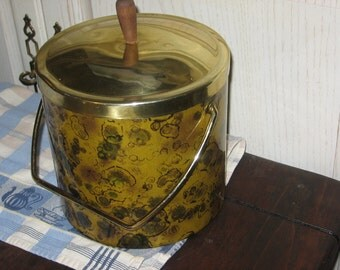 Ice Bucket, Parties, Retro Ice Bucket,  Spotted Gold and brown, Leopard, Parties, Pot Lucks, Barque, Vintage Kitchen, Bar Ware,