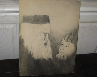 Drawing Vintage, By Linda Odell, Vintage Drawing   Picture of Wise Old Man and Little Boy Print. By Linda Odell  :)