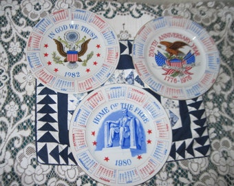 BICENTENNIAL PLATES Set of 3 of Them, 200th  Anniversary,Home of the Free, In God We Trust :)