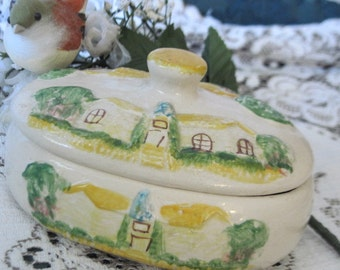 Darling little Country  Pottery Dish with Lid Cute  House on it  :) S
