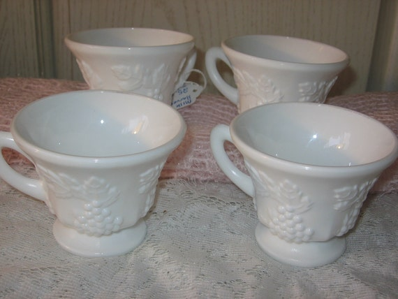 Milk Glass Cups  Set of Four,Coffee,Punch,