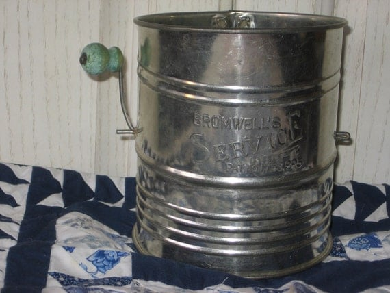 RESERVED / Vintage Flour Sifter with Wooden Handle BROWMWELL'S SERVICE