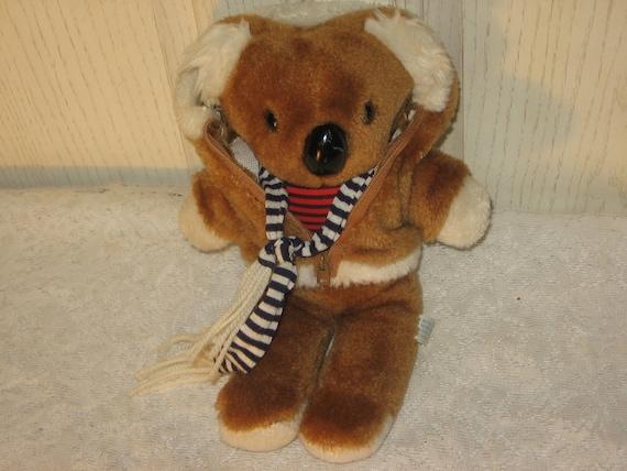Vintage Stuffed Koala Bear Brown Zipper Coat Red White Striped Scarf Plush Old