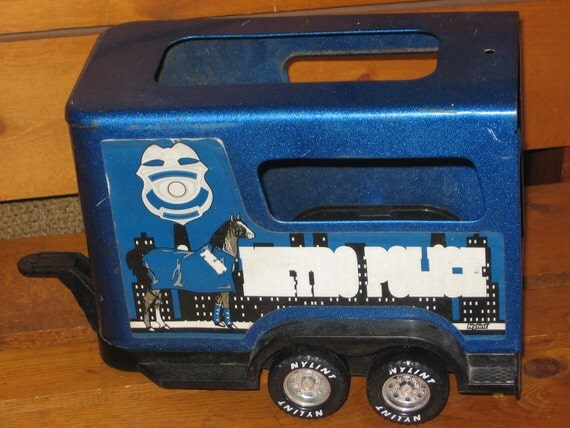 Nylint Police Horse Trailer Dark Blue Sweet. Made in USA S,Toy Horse Trailer,Vintage Toy Cars,Vintage Toy Trucks