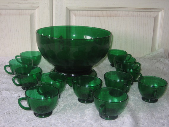 Anchor Hocking Forest Green Punch Bowl from the 50s  Open To Offers