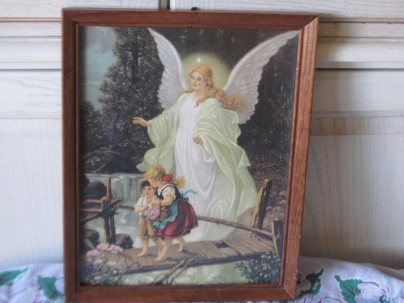Vintage Framed Print The Guardian Angel