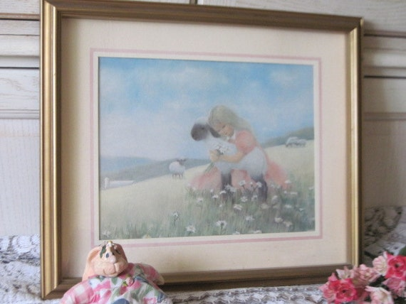 Darling Little Girl print with Lambs Sweet Open to Offers 19 inches long 16 inches wide