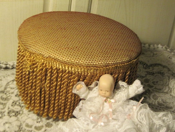 RESERVED / Little Foot Stool Sweet Fringe Around It  Bombay Or Best Offer