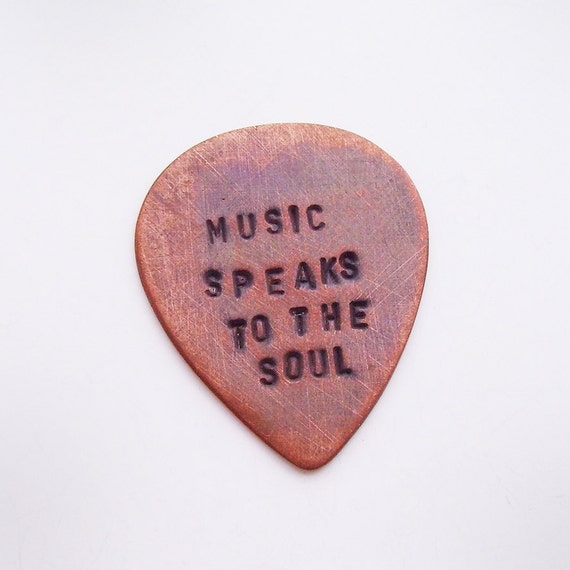 Personalized Copper Guitar Pick - Custom Hand Stamped Message - Brushed, Rustic, Oxidized - Man, Boyfriend, Father, Groomsmen Gift