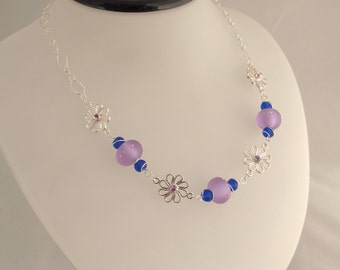 CLEARANCE - Purple Sand Pebbles, Sea Glass, and Silver Chain Necklace