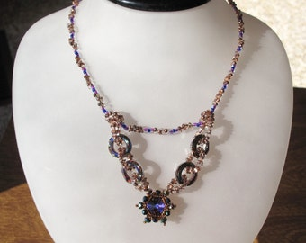 CLEARANCE - Cosmic Floating V Necklace with Crystal Rings and Rivoli and Toggle Clasp