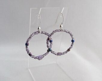 Amethyst beaded round earrings