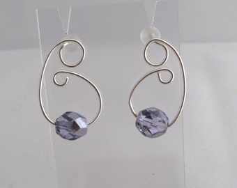 Curves and Loops Wire Post Earrings with Purple Metallic Beads