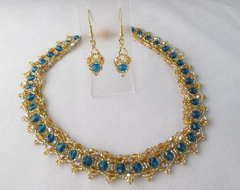 CLEARANCE - Gold and Dark Aqua Beaded Collar with matching earrings