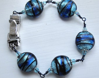 CLEARANCE - Navy and Blue Foil-Lined Lentil Beaded Bracelet