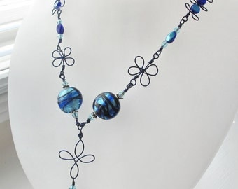CLEARANCE - Blue Foil Glass Beads with Hand-Crafted Navy Wire Florettes Necklace