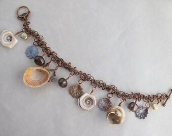 CLEARANCE - Sea Treasures Charm Bracelet on Matte Copper Chain