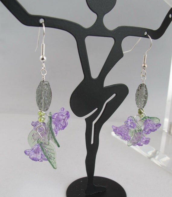 Spring Violets Cluster Earrings with Pressed Glass Oval Drops
