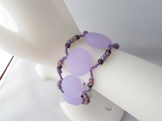 CLEARANCE - Purple Sea Glass Disks Bracelet with Antique Silver Magnetic Clasp